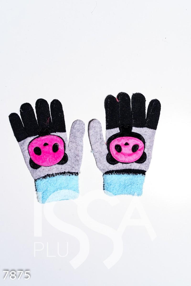 Серо-черные шерстяные однослойные перчатки с объемной аппликацией