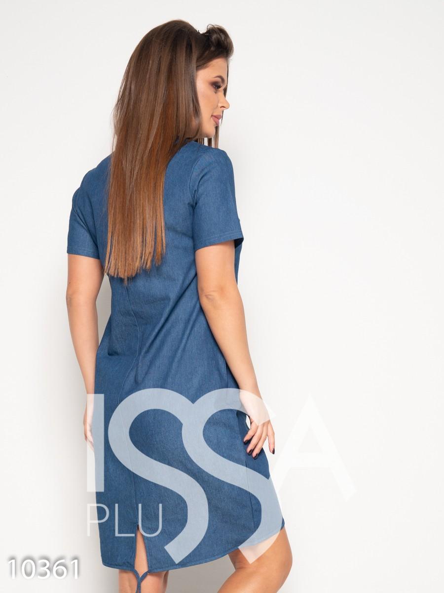 Синее джинсовое платье с короткими рукавами