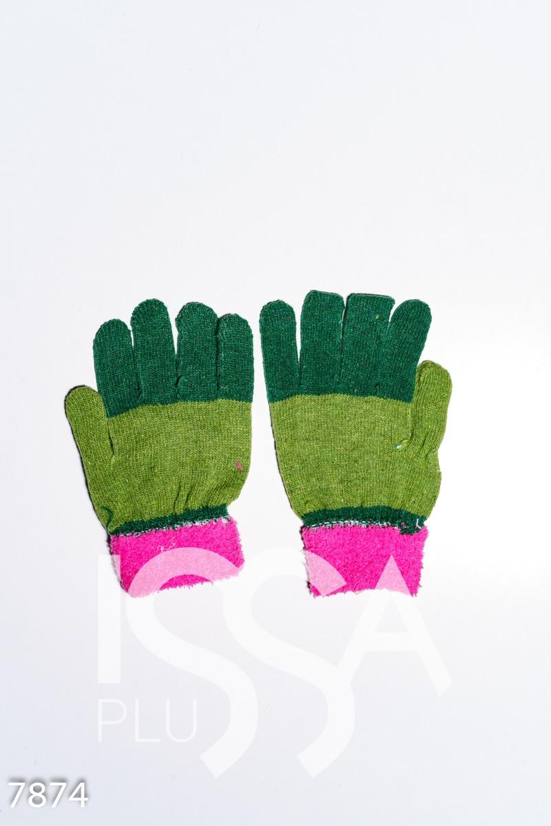 Малиново-зеленые шерстяные однослойные перчатки с объемной аппликацией