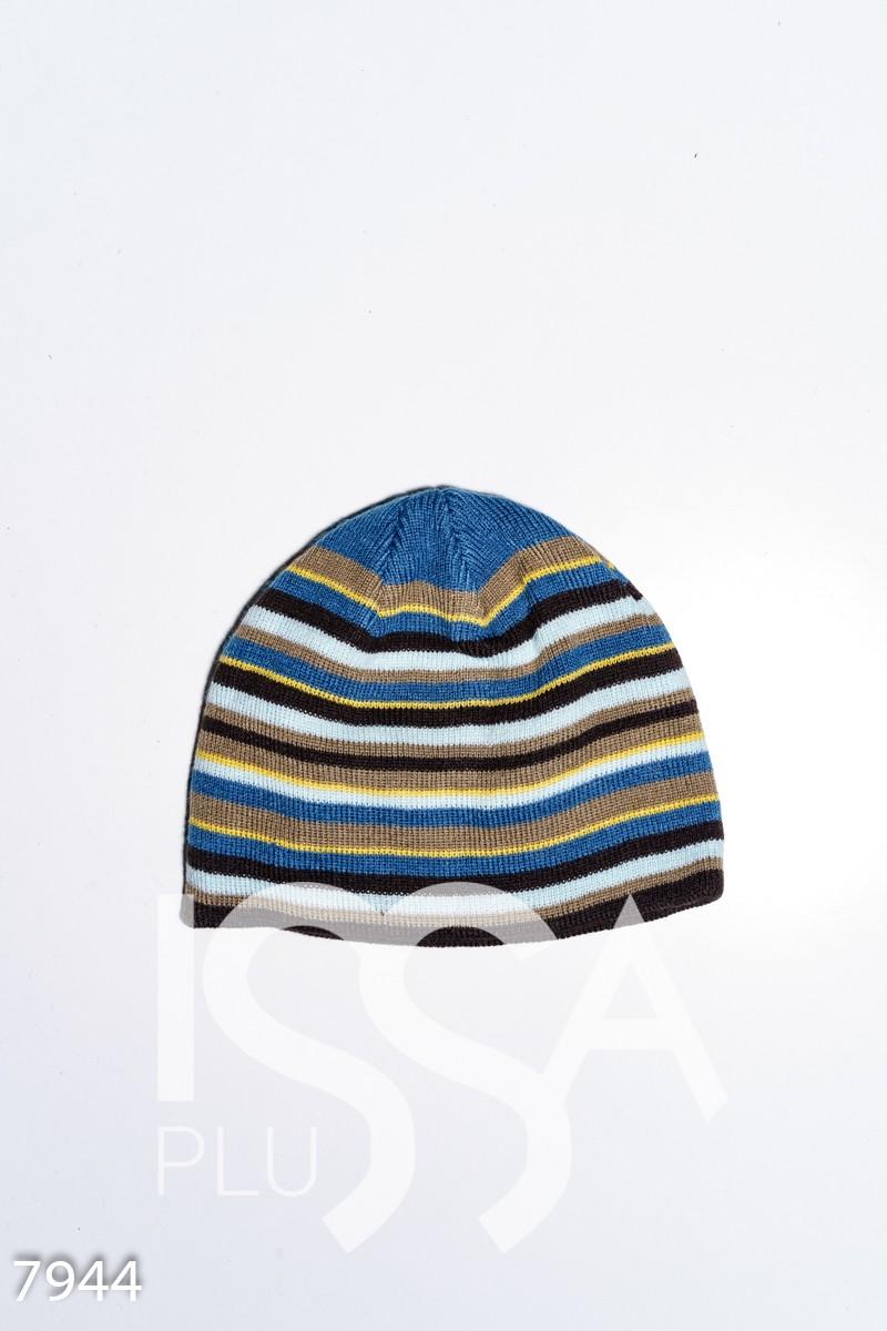 Полосатая вязаная трикотажная двухслойная шапка