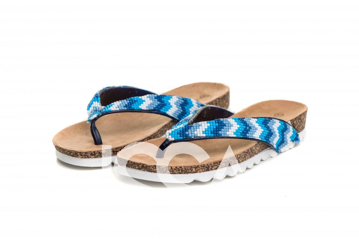 Легкие пробковые вьетнамки с голубым бисерным узором