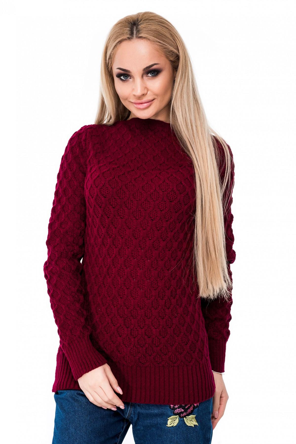 Issaplusбордовый вязаный свитер в мелкий фактурный узор 9238 купить