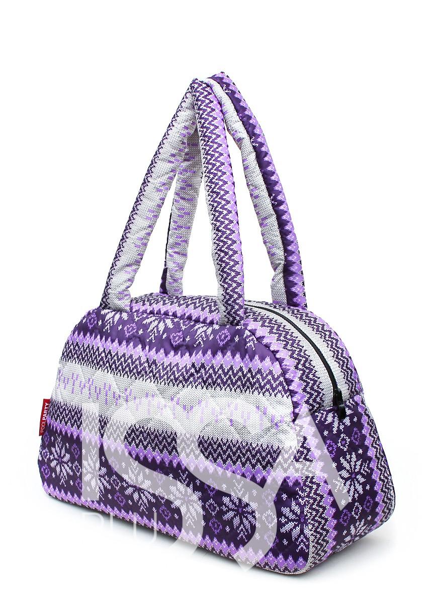 Фиолетовая сумка-саквояж из болоньи с северным орнаментом