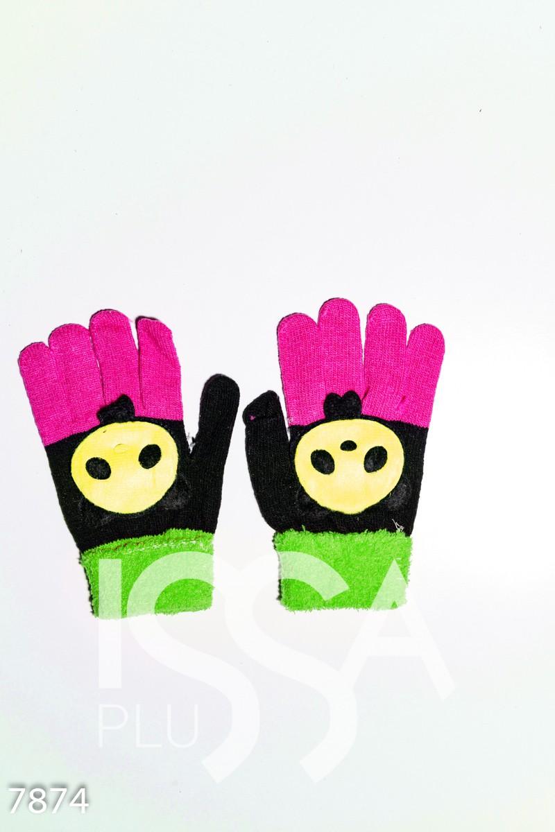 Черно-зеленые шерстяные однослойные перчатки с объемной аппликацией