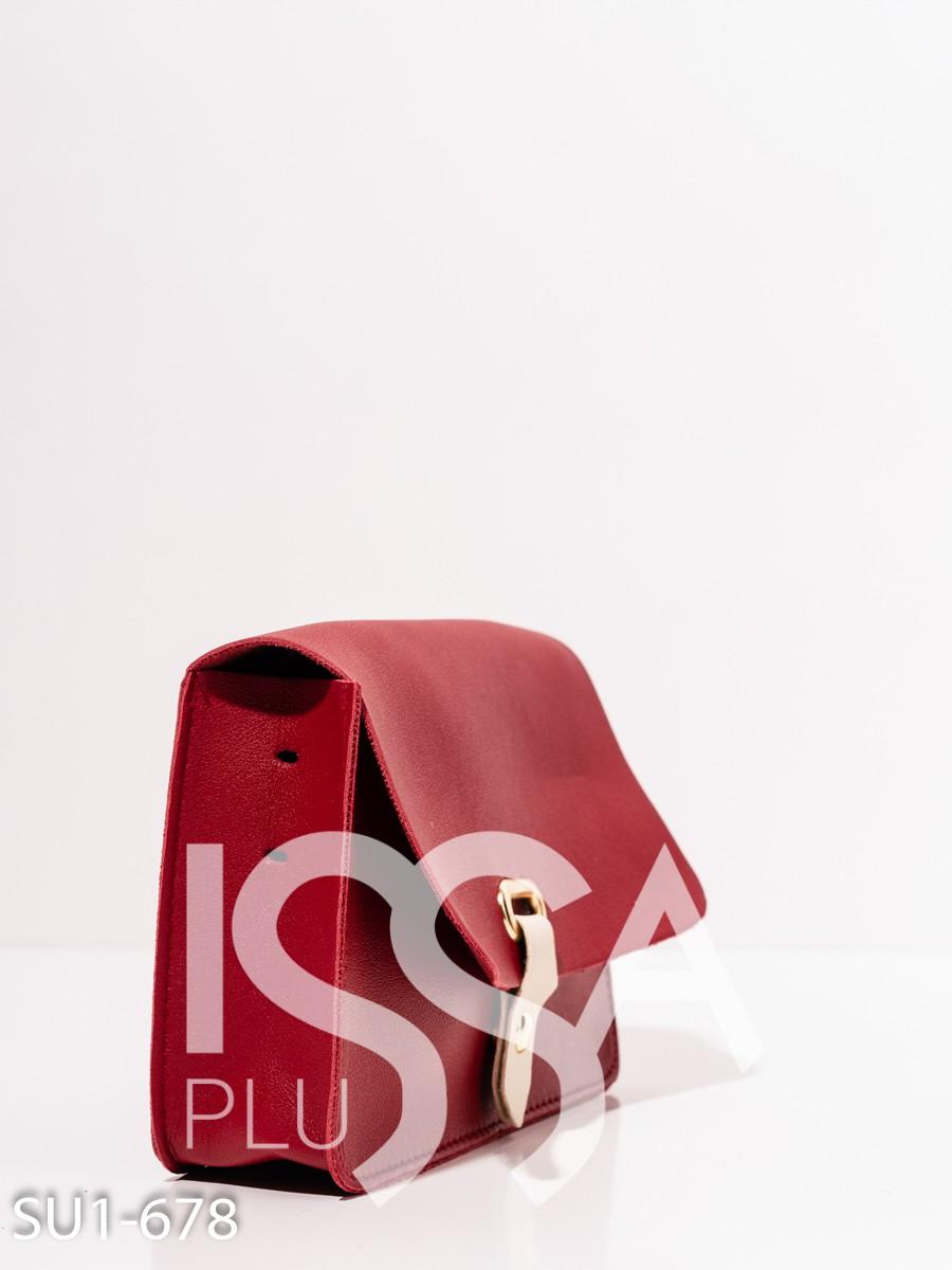 Бордовая сумка из эко-кожи с клапаном
