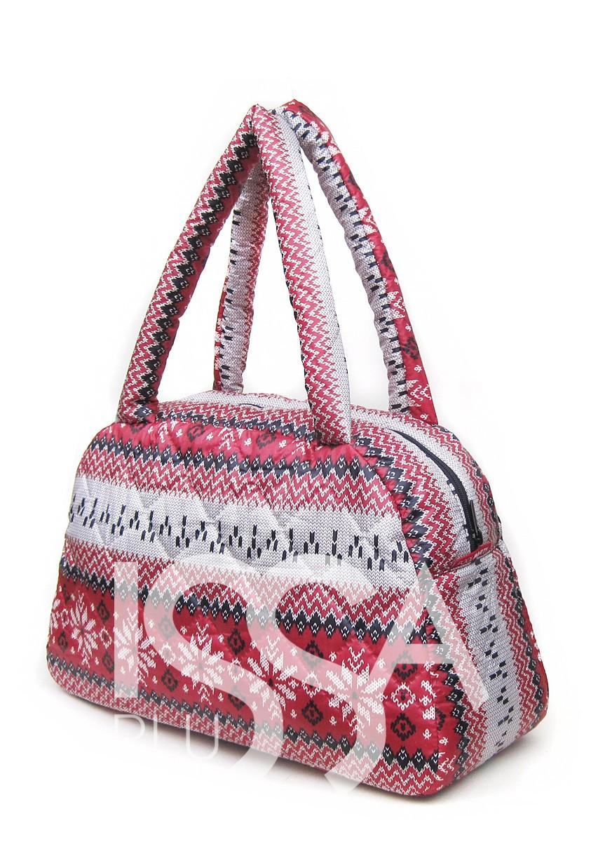Красная сумка-саквояж из болоньи с северным орнаментом