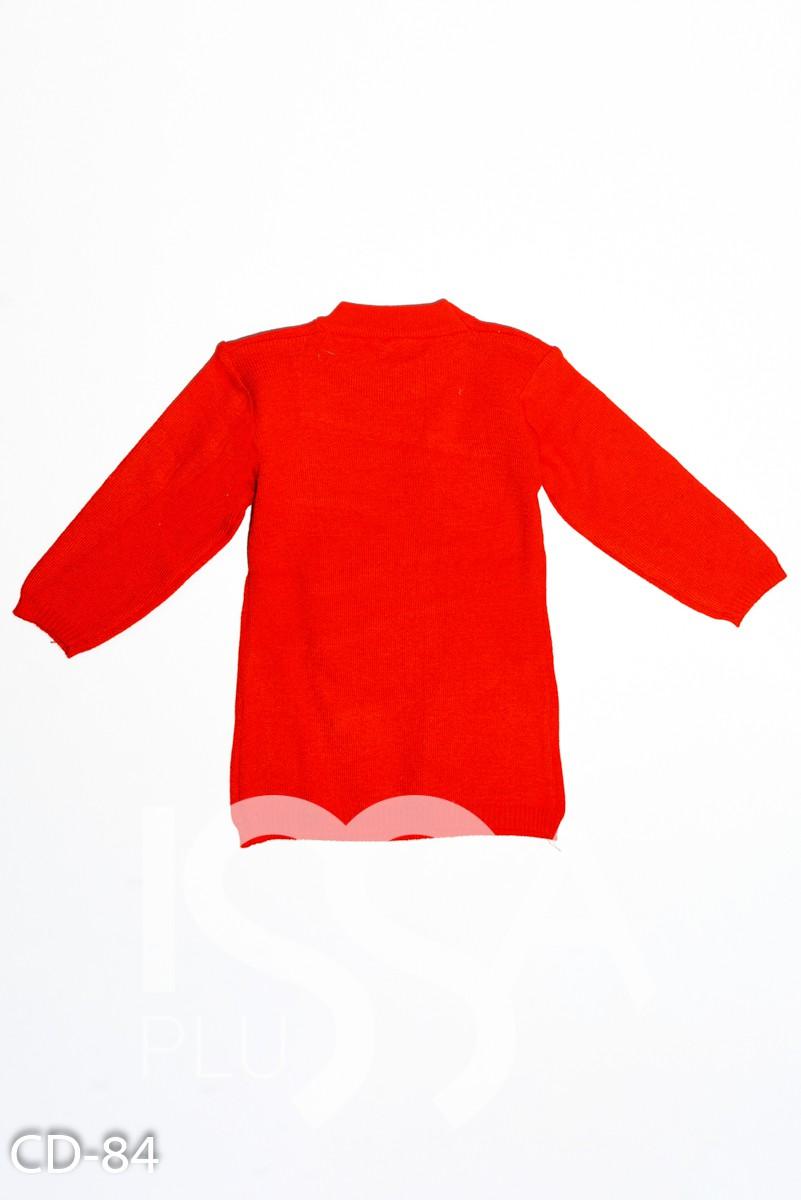 Красный вязаный удлиненный свитер с аппликацией