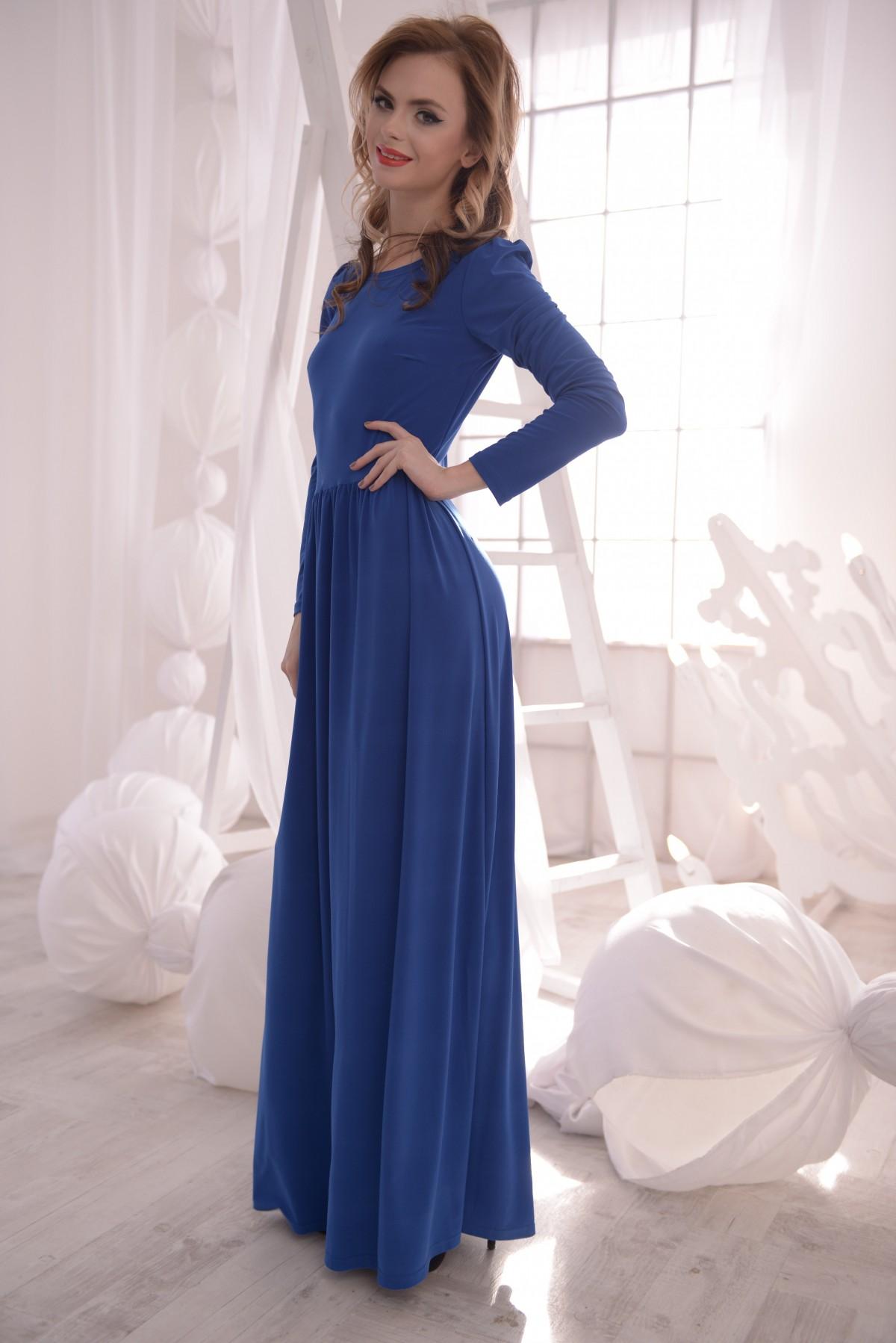 Платье длинное в пол синие