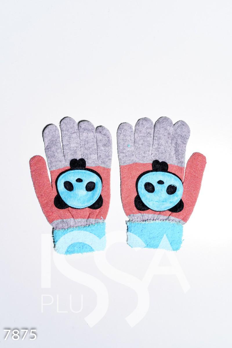 Серо-голубые шерстяные однослойные перчатки с объемной аппликацией