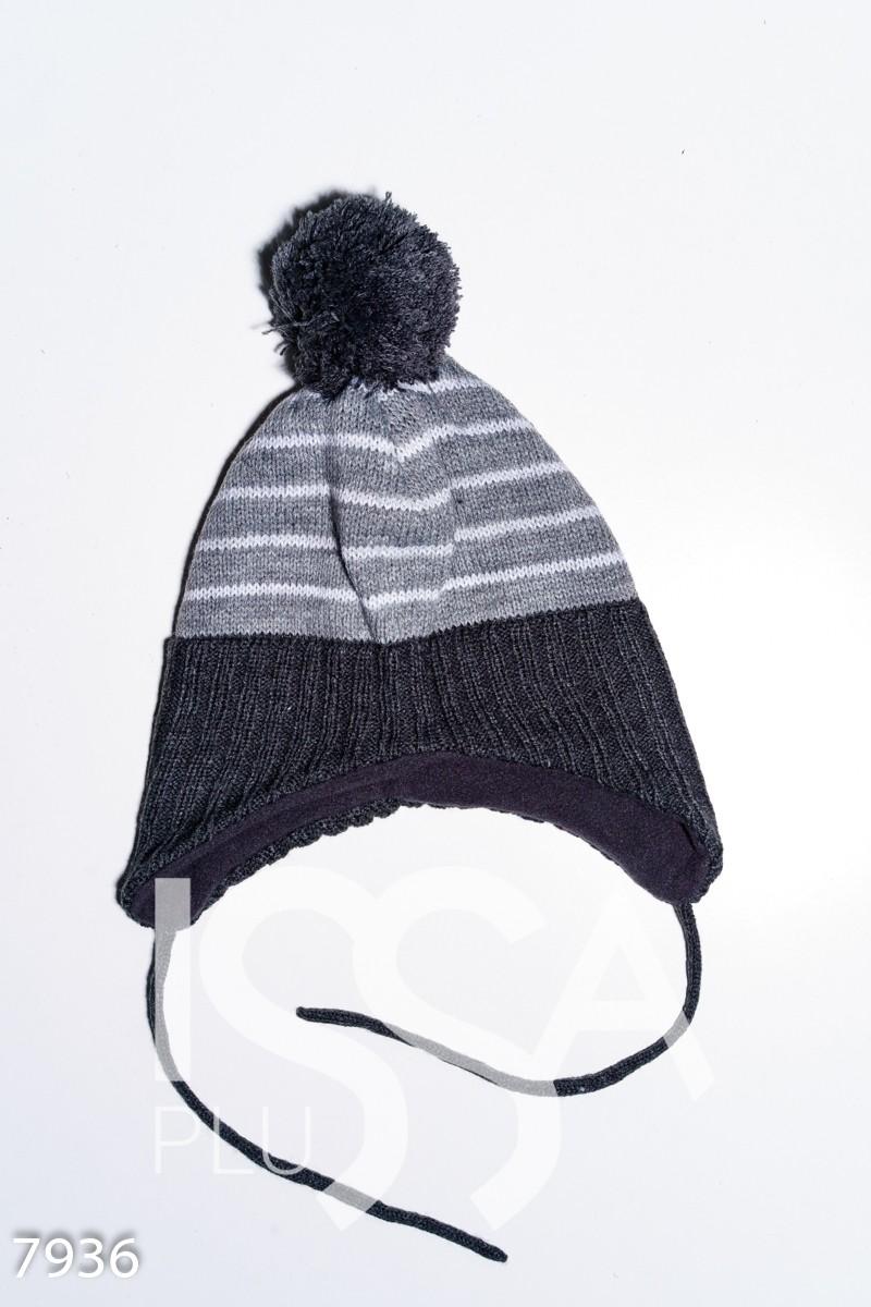Серая полосатая шерстяная шапка на флисе с помпоном и завязками