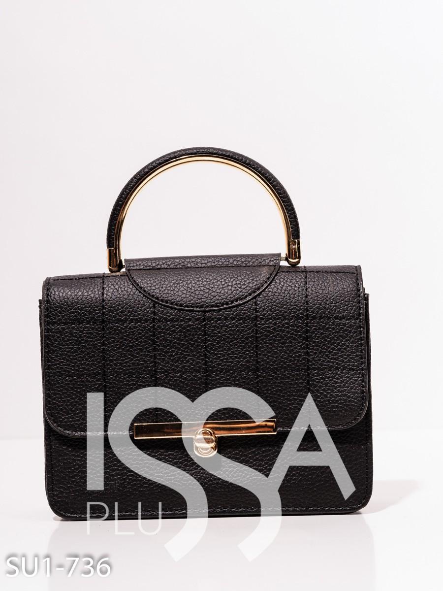 Черная каркасная сумка из эко-кожи с ручкой