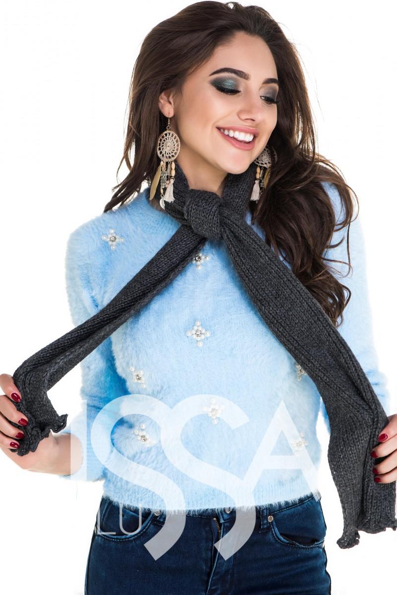 Узкий вязаный шарфик темно-серого цвета с фигурным краем