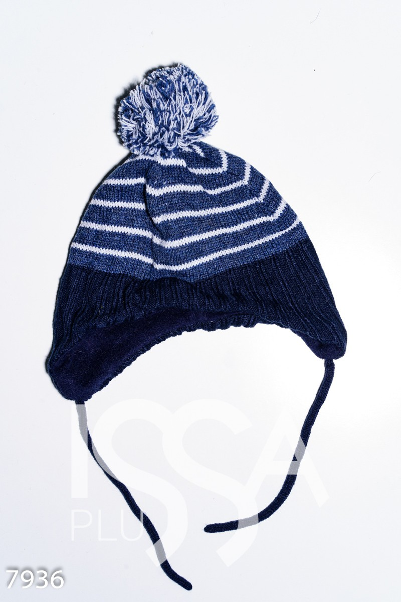 Синяя полосатая шерстяная шапка на флисе с помпоном и завязками
