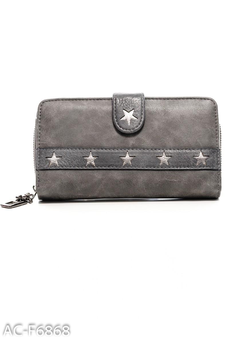 Серый кошелек с перфорацией в форме звезд