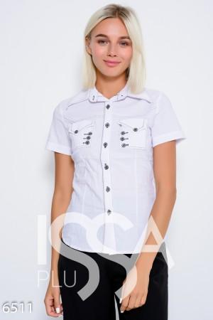 Белая эластичная коттоновая рубашка с короткими рукавами и декором из  черных ниток 6e4c329390e88