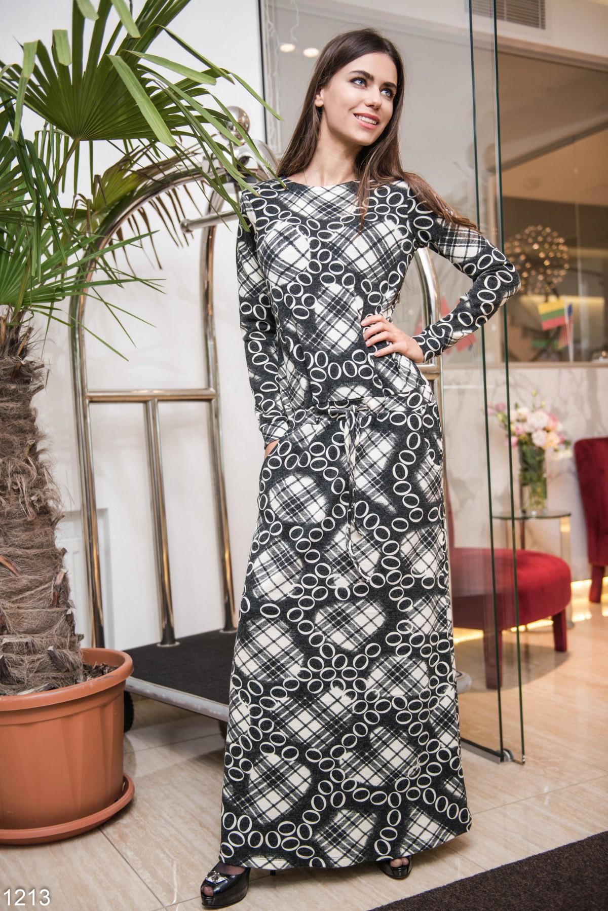 Длинное платье в пол черно-белое