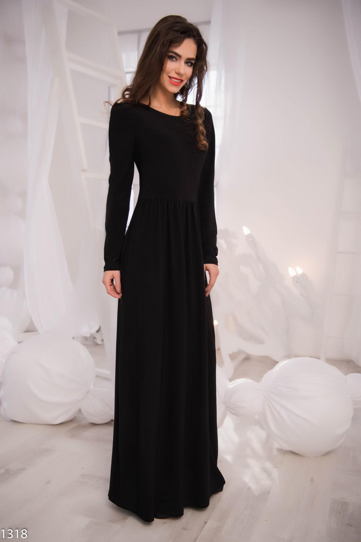 Длинные черные платья в пол с рукавами