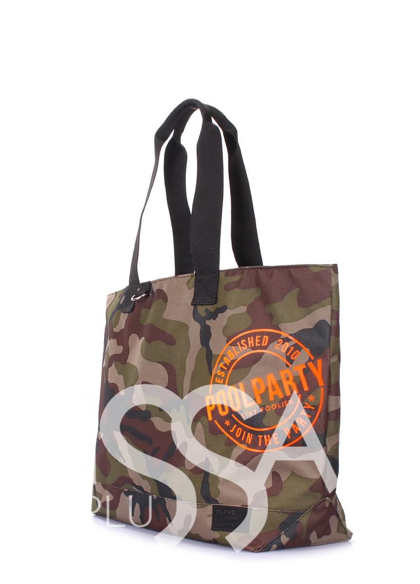 Вместительная сумка на одно отделение из оксфорда цвета камуфляжа
