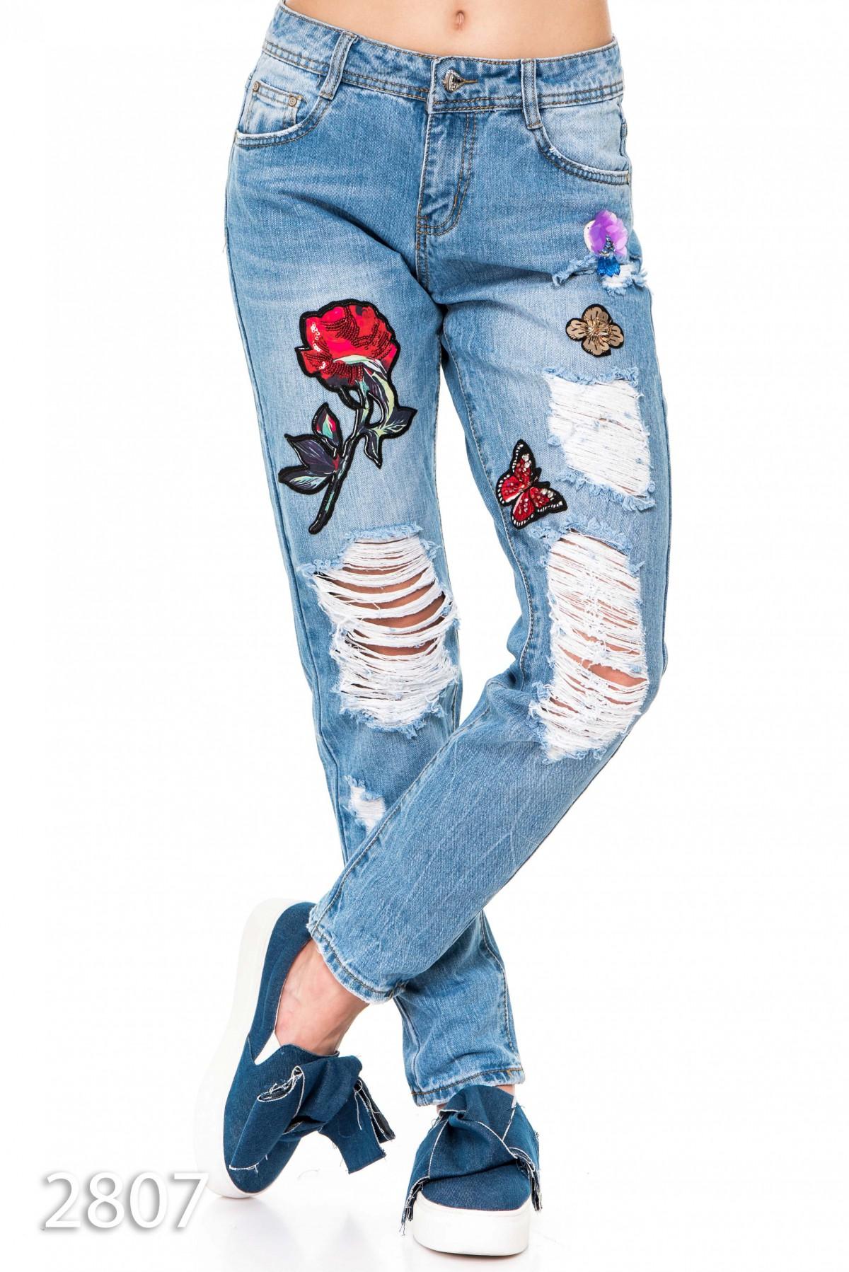 Вышивка на джинсах пайетками