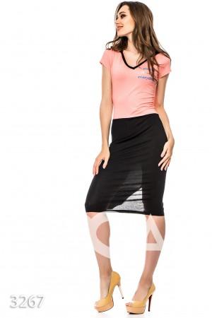 278dcb121b4 Облегающее черное с розовым платье с капюшоном и разрезом на юбке сзади