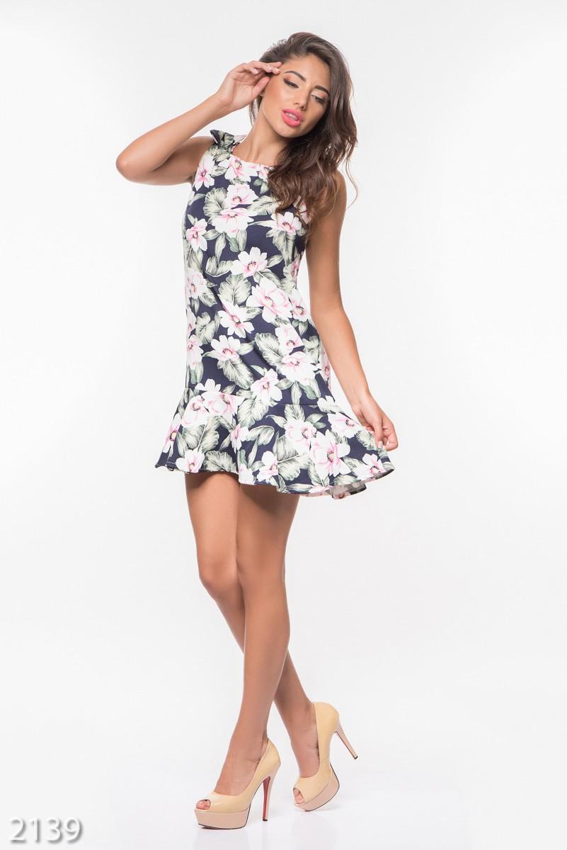 Цветочное платье с воланом