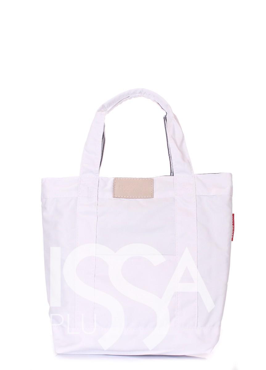 Белая сумочка из коттона с кожаной вставкой
