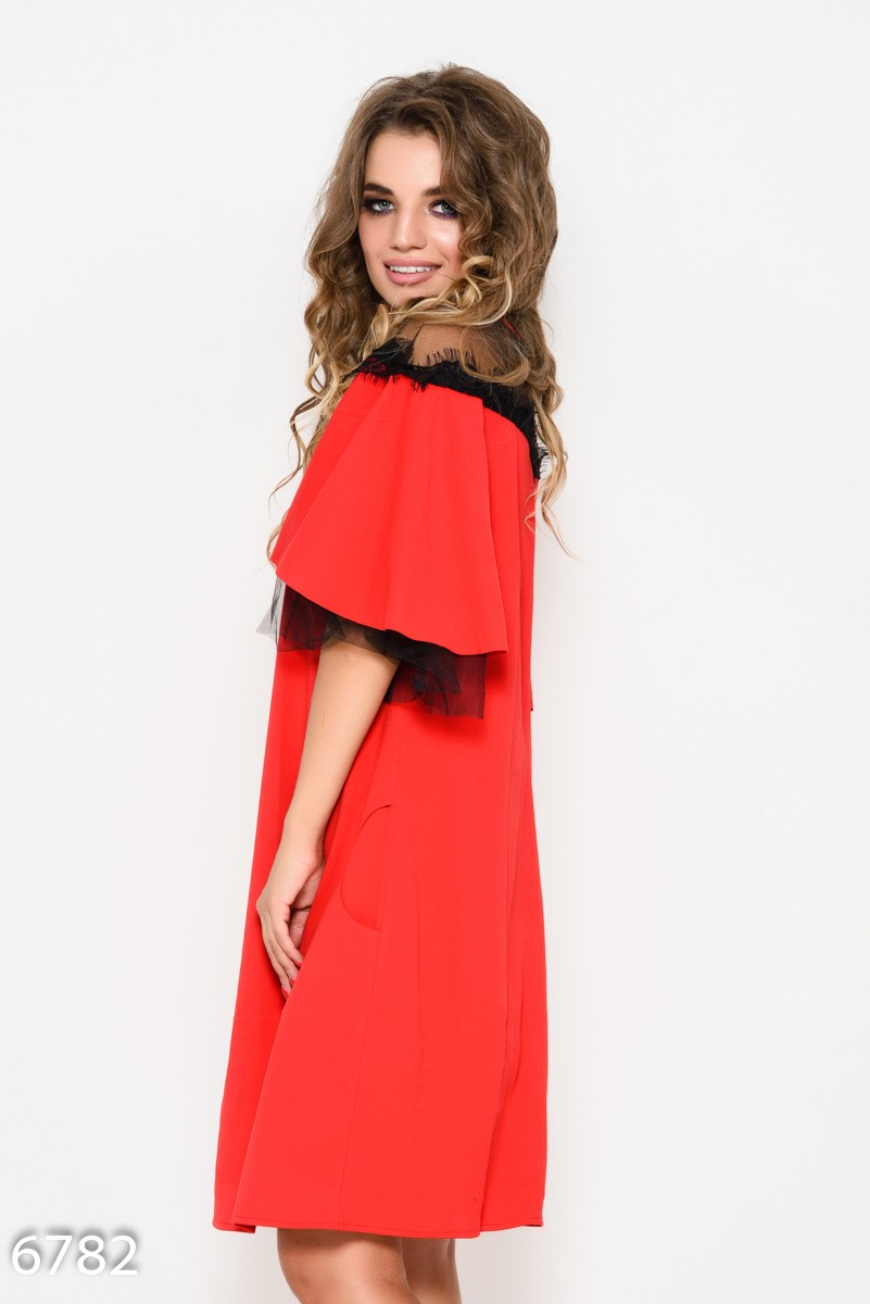 aa2ff37d97d ... Красное короткое платье с карманами