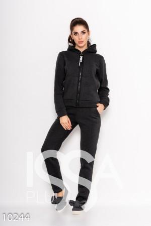 Серый утепленный спортивный костюм на флисе с капюшоном и молнией на куртке 75dd65f687e
