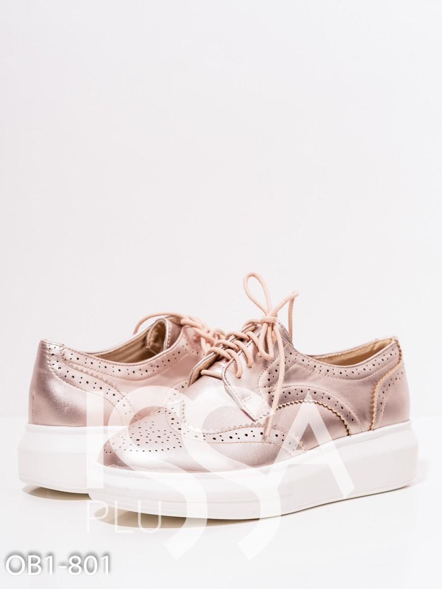 Серебристые туфли на платформе с перфорацией