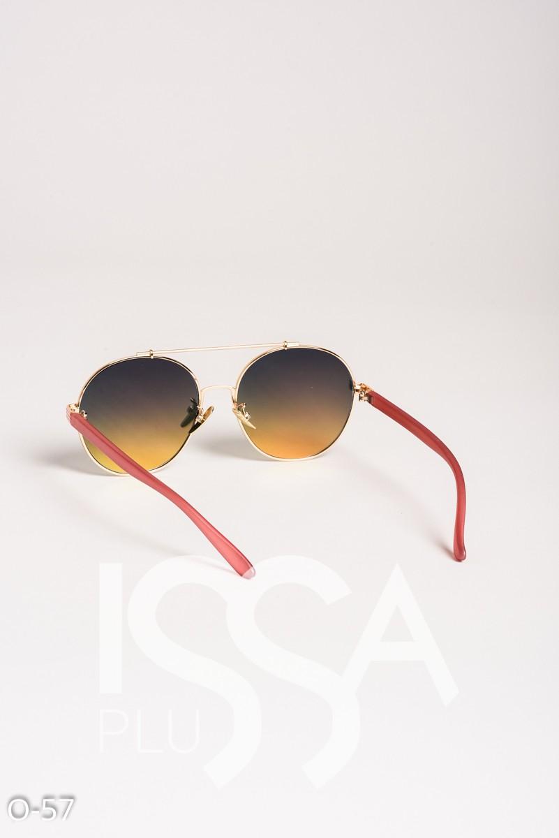 Розовые очки-капельки в металлической оправе с пластиковыми дужками