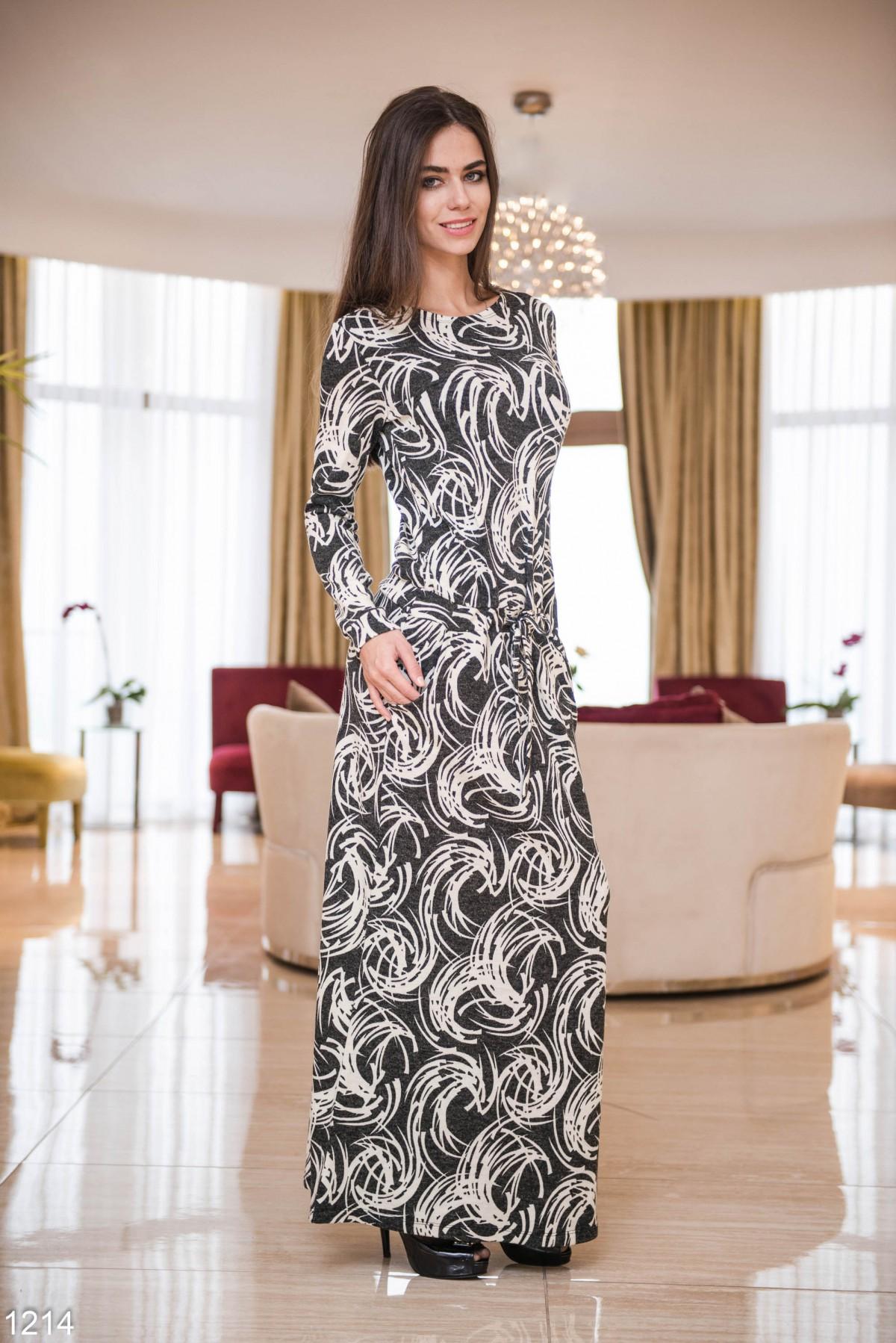 Черно белое платье в пол фото