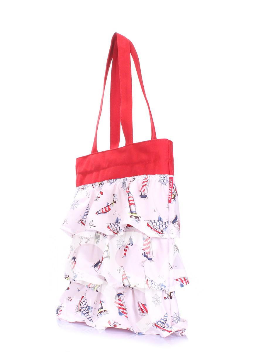 Бело-красная сумка из котона с декоративными рюшами