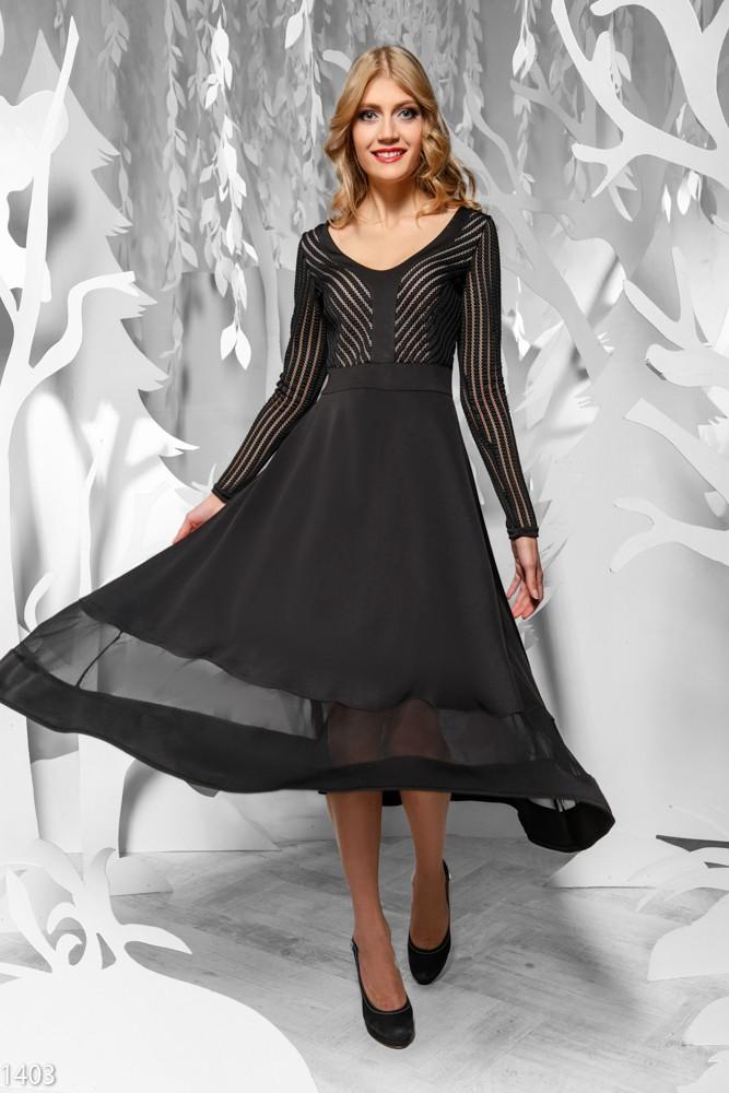 Платье со вставкой сетка