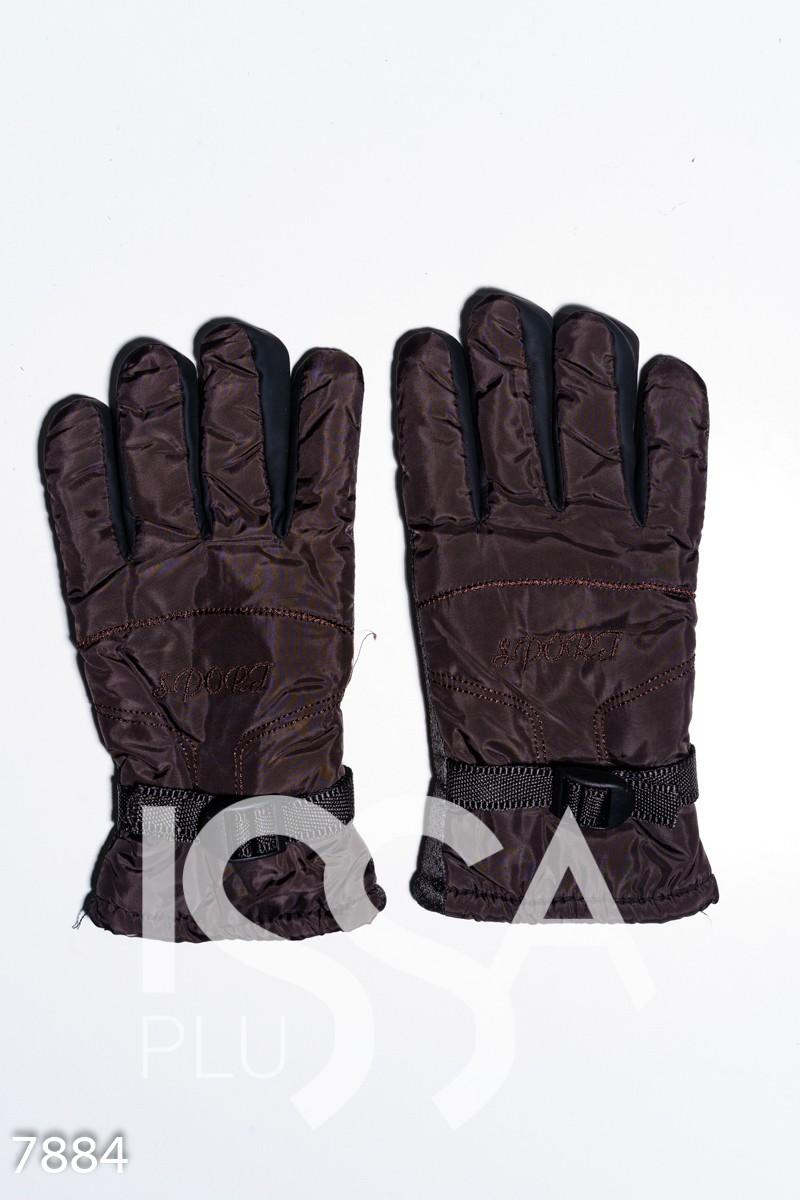 Коричневые стеганые теплые перчатки с затяжкой и антискользящим покрытием