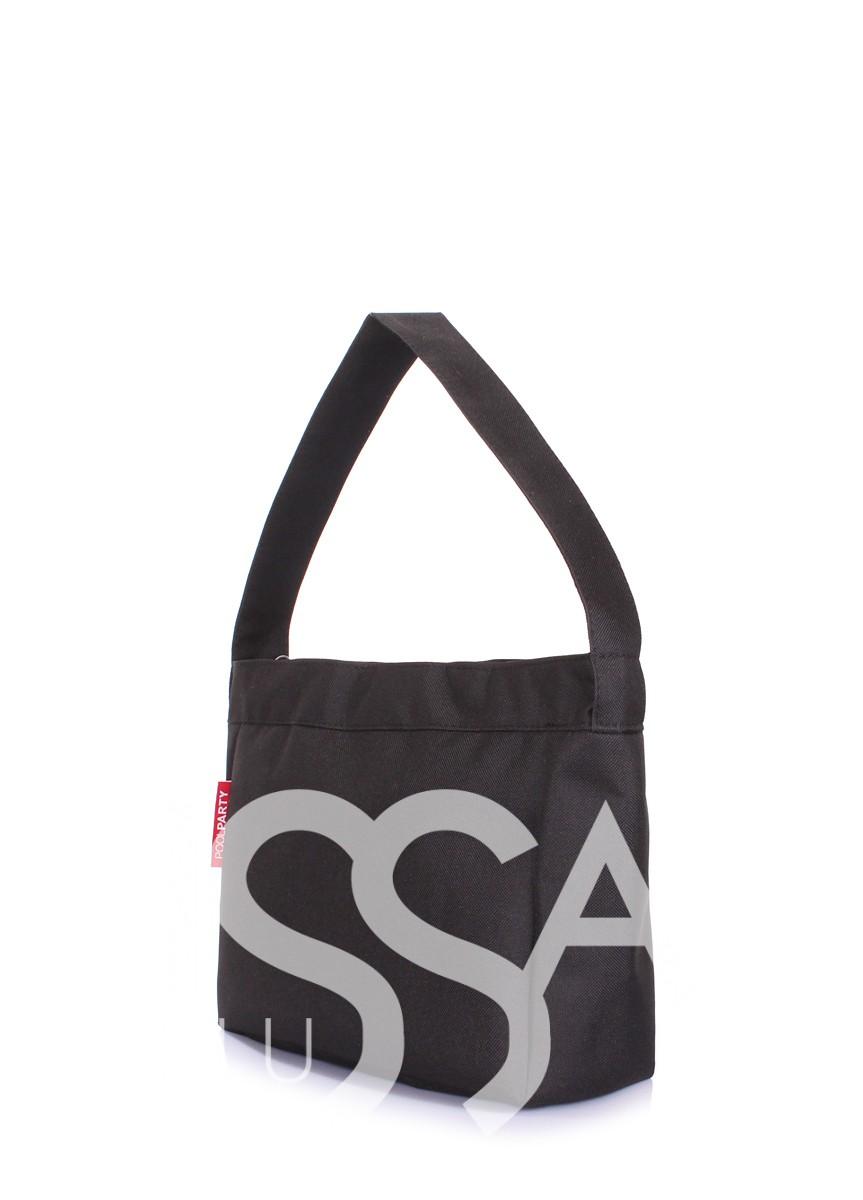 Черная повседневная сумка из оксфорда на молнии