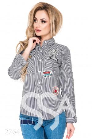 Купить рубашку в полоску женскую с вышивкой