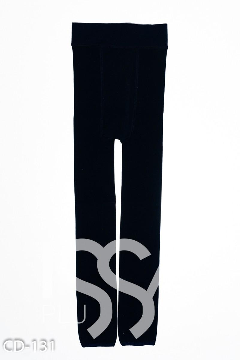 Темно-синие эластичные леггинсы с принтом