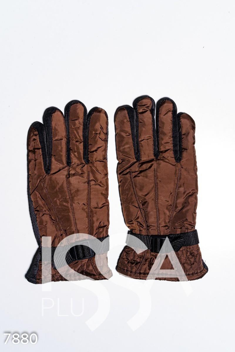 Коричневые теплые перчатки с затяжкой и антискользящим покрытием