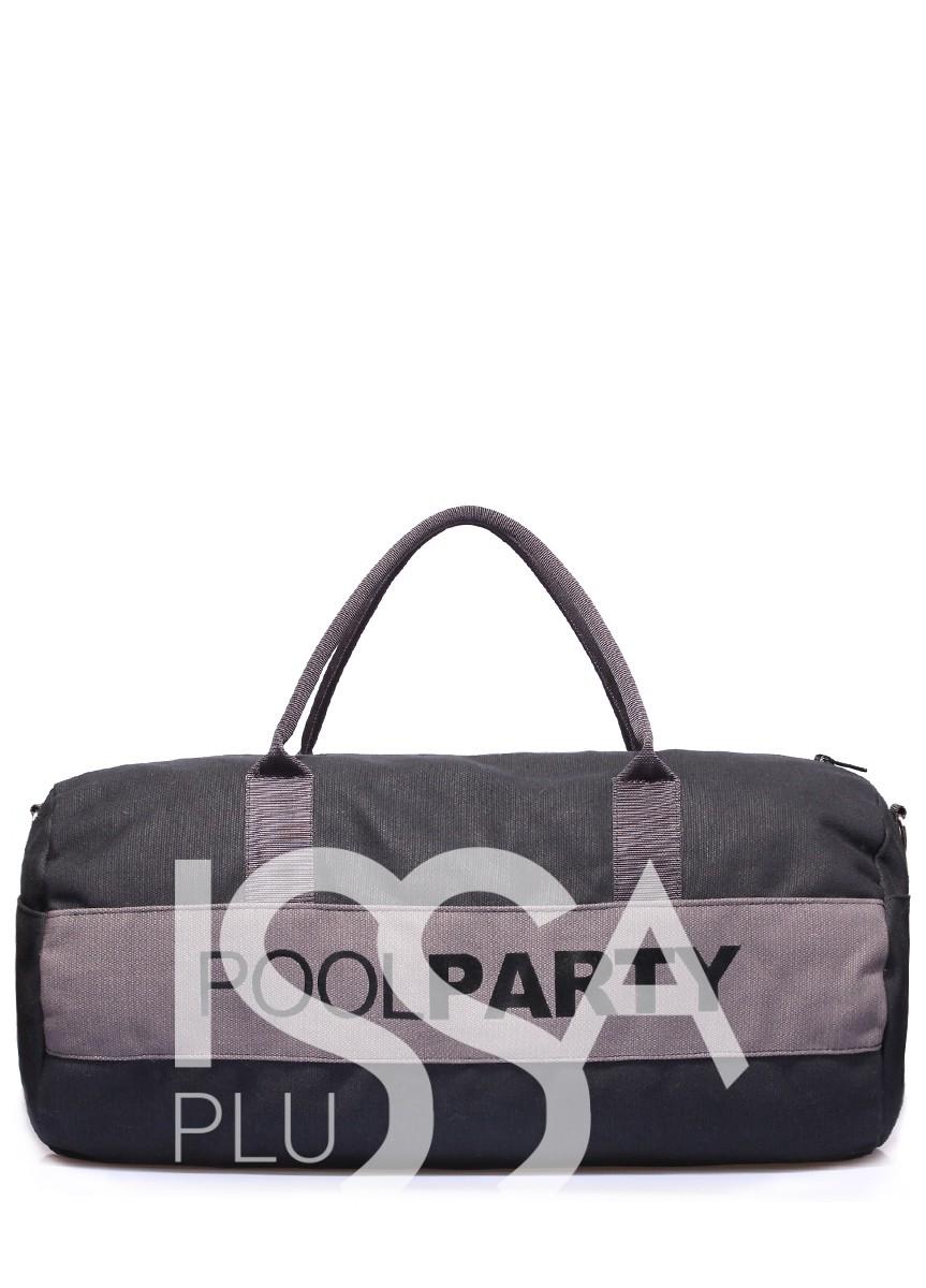 Спортивно-повседневная черная сумка с серыми вставками