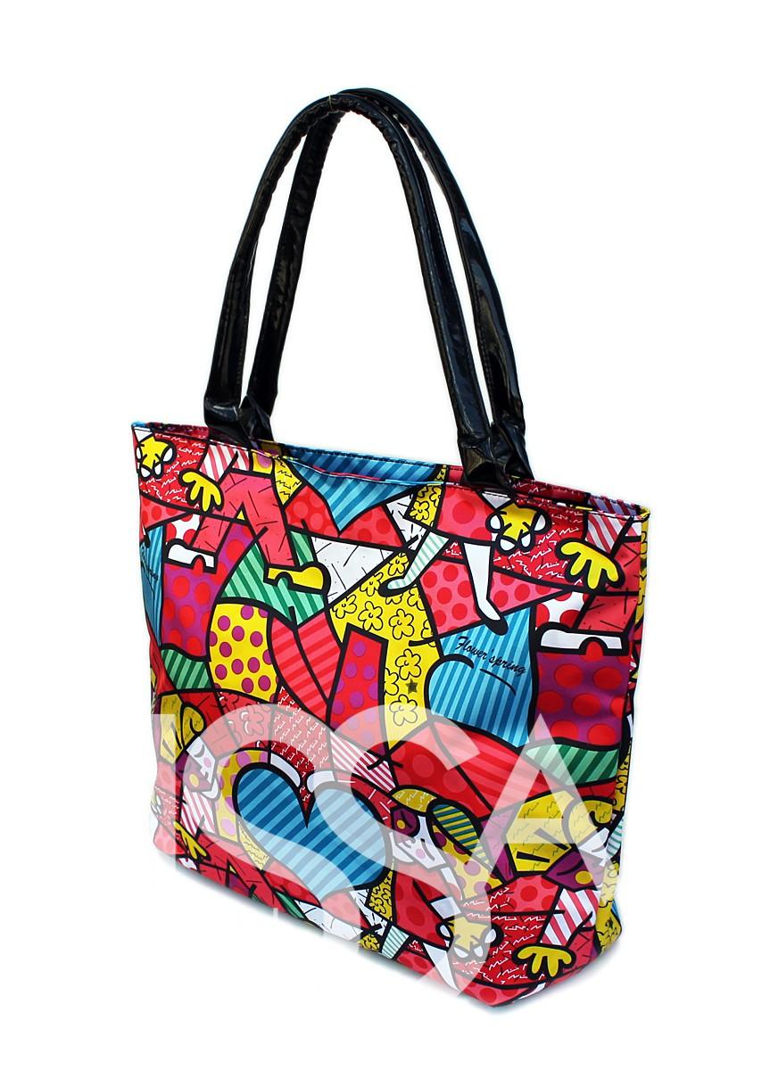 Яркая цветная тканевая сумка с мягкими ручками