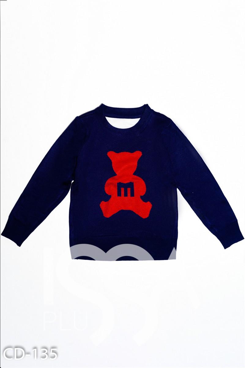 Темно-синий трикотажный свитер с красным мишкой