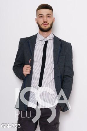 Серый трикотажный пиджак с потайными карманами и тесемкой вдоль воротника 93161edaeb5