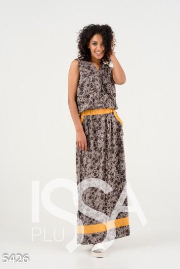 2ca58d0b481 Серое с коричневыми цветочками платье в пол без рукавов и с капюшоном  270  грн.