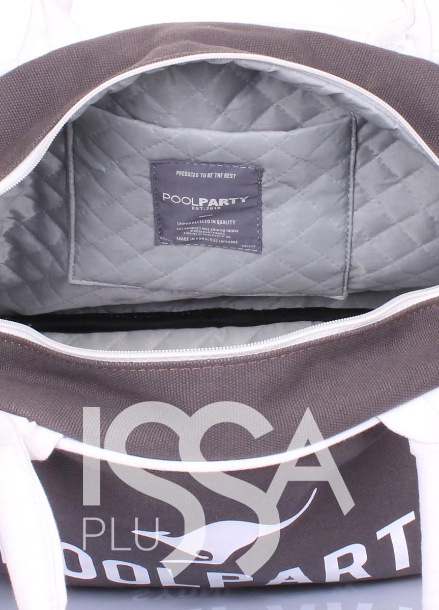 Коттоновая сумка-саквояж серого цвета