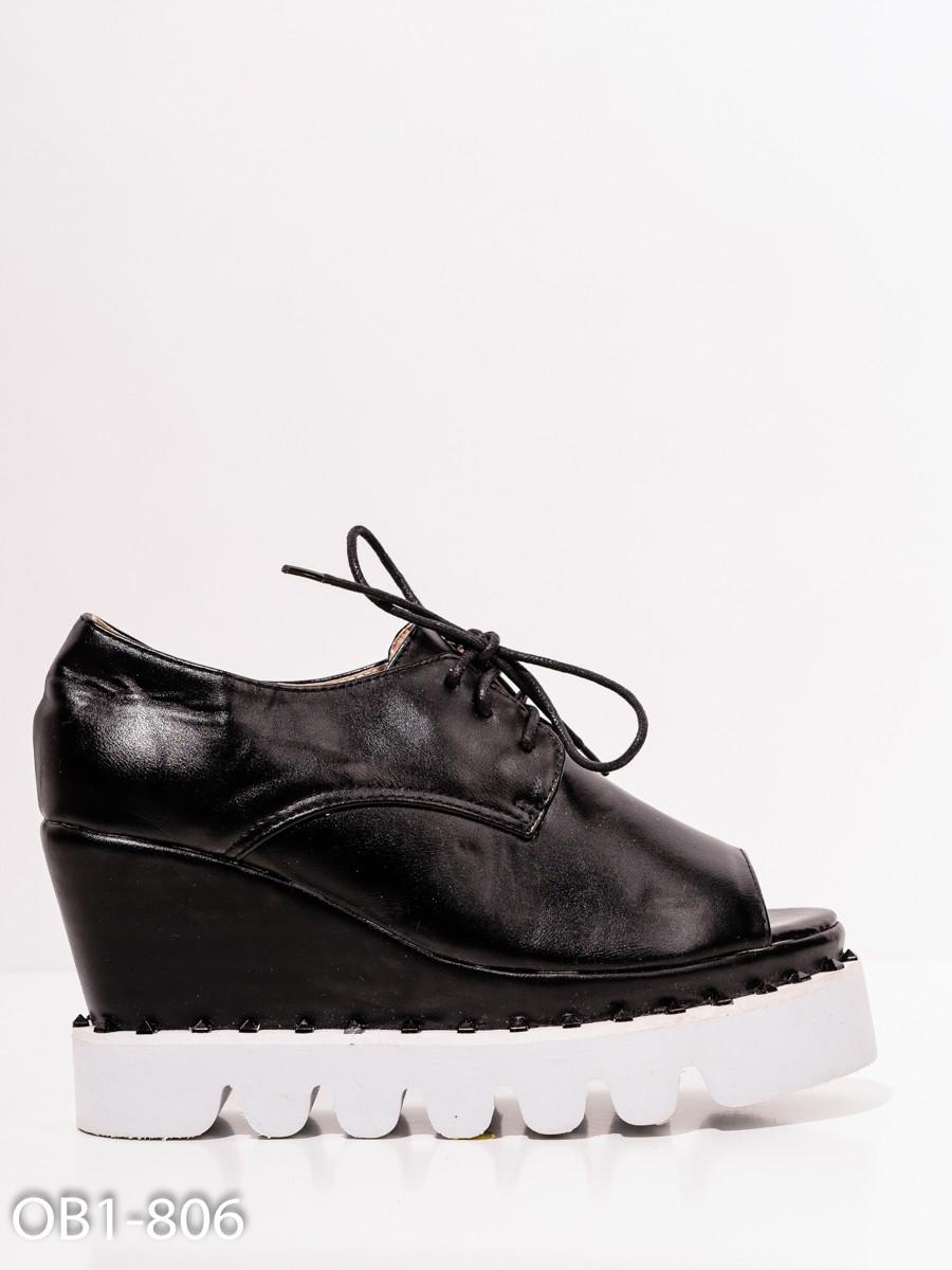 78f35b139 Черно-белые туфли на платформе с открытым носком: 132 грн. фото 2 ...