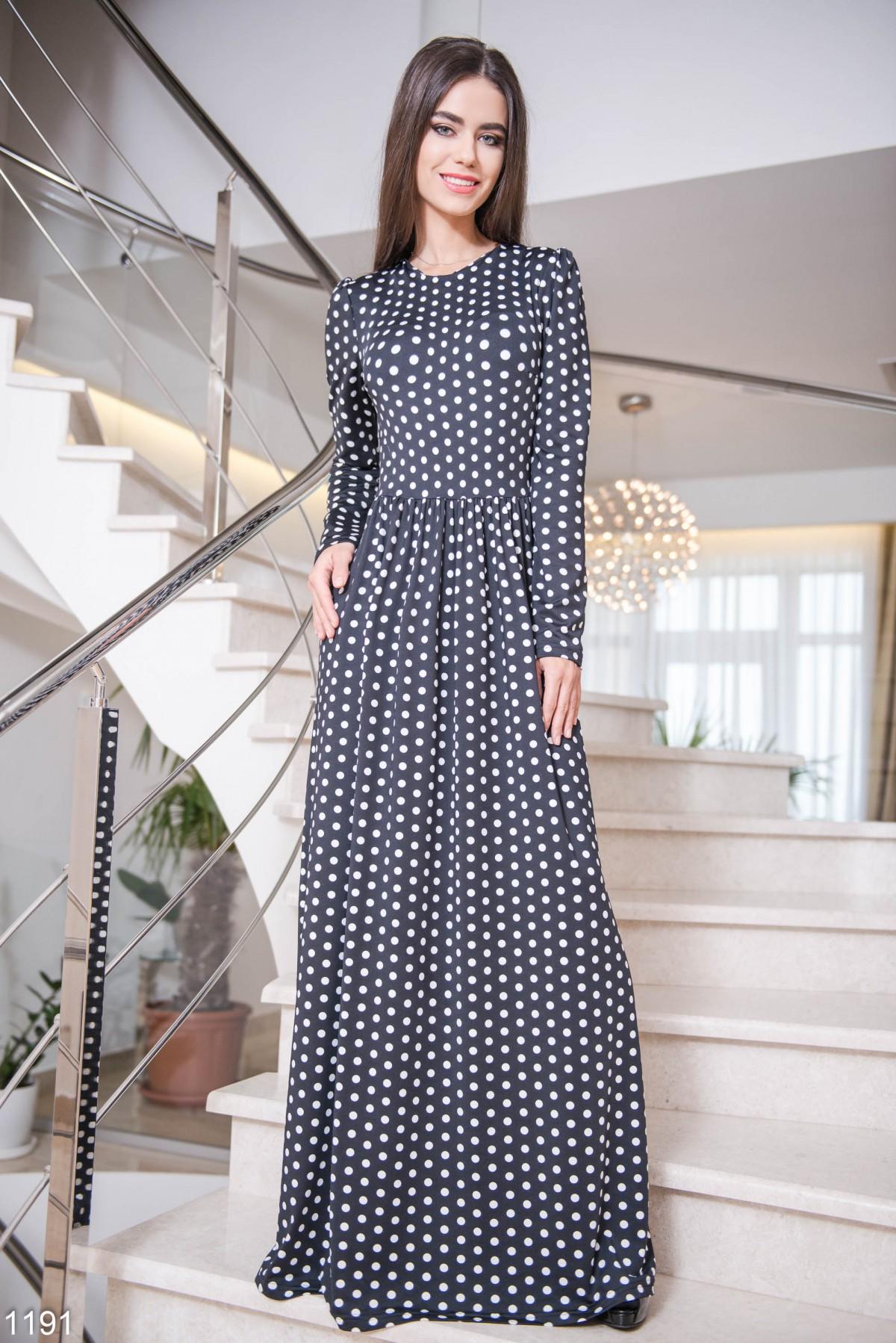 bc5efe192f0 Черное в белый горошек платье в пол  322 грн. фото 2 ...