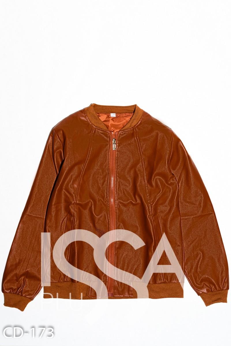Коричневая классическая куртка-бомбер на молнии