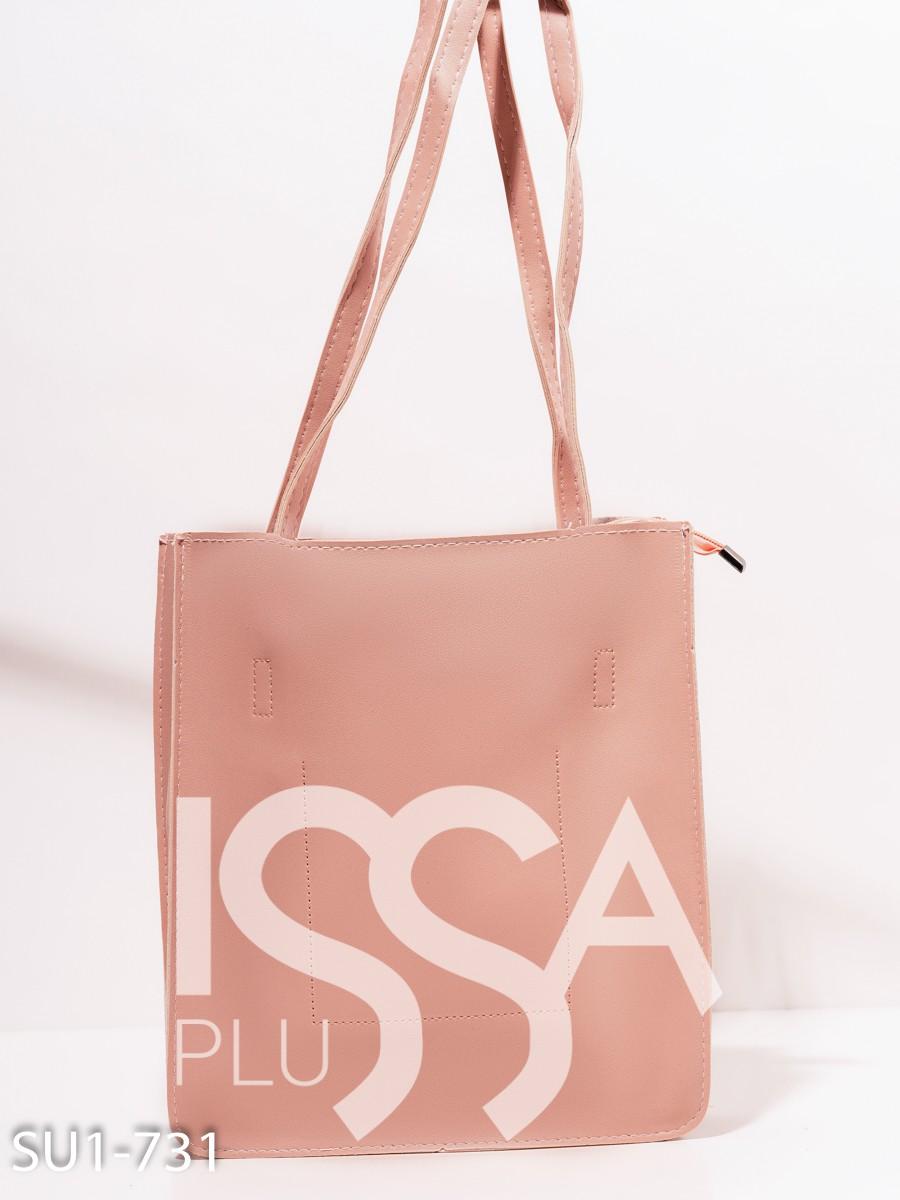 Розовая сумка-шоппер  из эко-кожи с принтом