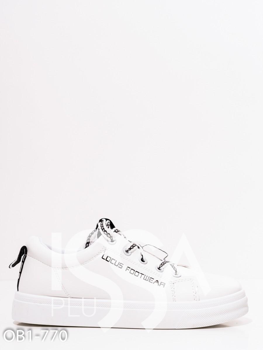 Белые низкие кожаные кеды с принтом