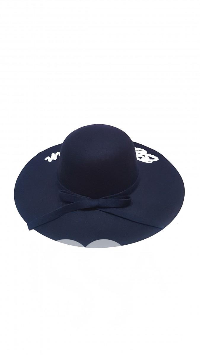 Синяя широкополая шляпа с надписью